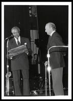 "Al Dale presents award to Felix Grant at ""A Musical Tribute to Felix Grant,"" University of the District of Columbia, Washington, D.C., 1990"