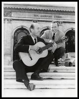 Charlie Byrd and Felix Grant on the steps of the Pan American Union, Washington, D.C.