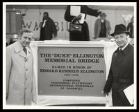 Charles Macatee and Felix Grant at naming of the Duke Ellington Memorial Bridge, Washington, D.C., 1974
