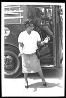 Ella Fitzgerald in front of bus at the Lorton Jazz Festival, Lorton, VA, September 1964