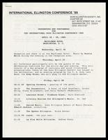 "Itinerary entitled ""Presenters and Performers for the International Duke Ellington Conference 1989, April 26-29, 1989,"" Mayflower Hotel, Washington, D.C., March 16, 1989"