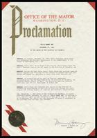 "Proclamation from the Mayor of the District of Columbia Marion S. Barry, Jr. entitled ""Felix Grant Day,"" Washington, D.C., November 19, 1985"