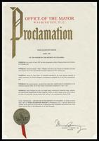 "Proclamation from the Mayor of the District of Columbia Marion S. Barry, Jr. entitled ""Duke Ellington Month, April 1987,"" Washington, D.C., April 1987"