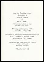 "Invitation to ""Musical Tribute to Felix Grant,"" University of the District of Columbia Auditorium, Washington, D.C., January 1990"