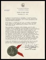 """Salute to Felix Grant"" from District of Columbia Mayor-Commissioner Walter E. Washington, Washington, D.C., September 27, 1974"