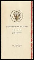 "Invitation entitled ""The President and Mrs. Carter welcome you to a Jazz Concert"" at the White House from President Jimmy Carter to Felix Grant, Washington, D.C., June 18, 1978"
