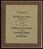 Award of participation from the Brazilian Consul General to Felix Grant for the First Bossa Nova Concert, Carnegie Hall, New York, New York, November 21, 1962