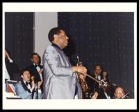 Dizzy Gillespie performs at The United States Air Force Band Guest Artist Series featuring Dizzy Gillespie at D.A.R. Constitution Hall, Washington, D.C., 1983