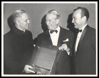 Father Gilbert Hartke, Maurice Chevalier and Felix Grant, Washington, D.C., 1961