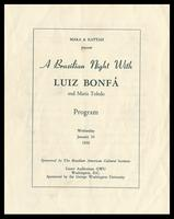 "Program entitled ""A Brazilian Night With Luiz Bonfá and Maria Toledo,"" Lisner Auditorium GWU, Washington, D.C., January 26, 1966"